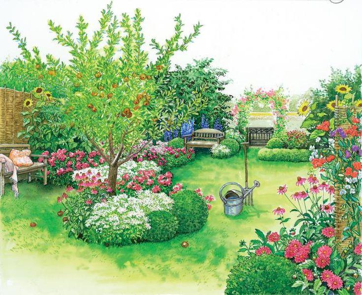 Landhausgarten Blumen und Apfelbaum