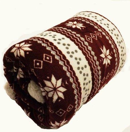 Rapport Alpine Reversible Sofa Bed Fleece Throw or Blanket with Sherpa Throw, Grey