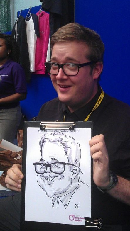 Black and white on the spot caricature
