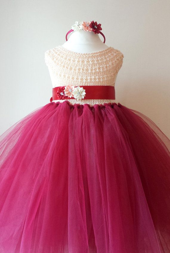 Flower girl dress, tutu dress, crochet tutu dress, bridesmaid dress, princess dress, silk crochet top tulle dress, hand knit silk tutu dress...
