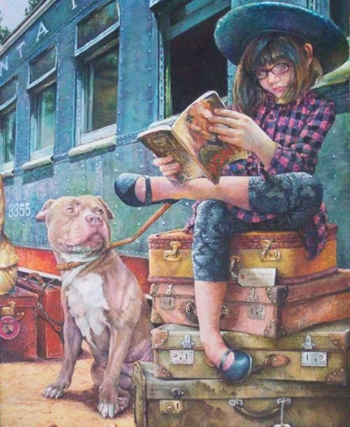 Travel, always with books  -  Illustration by Susan Brabeau