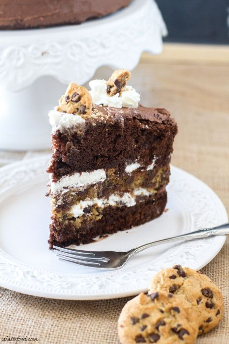 This delicious cake has chocolate cake and chocolate chip cookie layers, is filled with Nutella and whipped cream, and topped with creamy chocolate frosting and crushed chocolate chip cookies.   www.alattefood.com