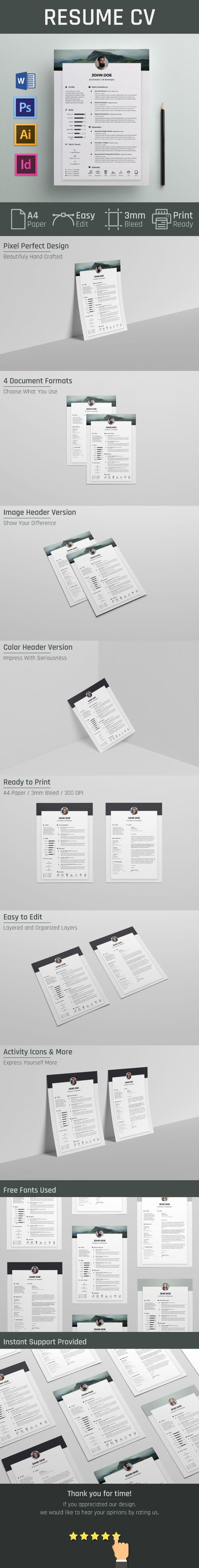 Free Resume CV Template on Behance