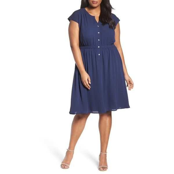 Plus Size Women's Sejour Crepe Georgette Cinched Waist Shirtdress ($119) ❤ liked on Polyvore featuring plus size women's fashion, plus size clothing, plus size dresses, navy peacoat, plus size, blue dress, navy dresses, long sleeve shirt dress and plus size navy blue dress