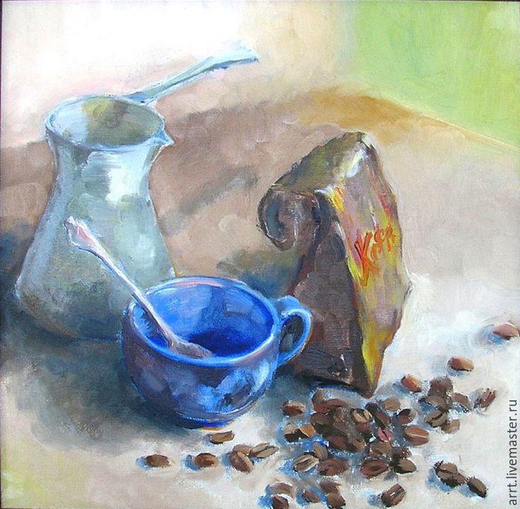Купить Кофе и утро Картина холст масло 25х25 см - коричневый, ягоды, картина маслом