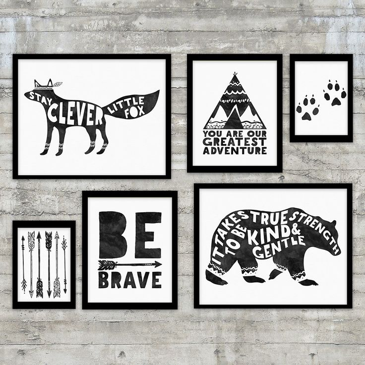 Tribal Nursery Art Printable Gallery Wall Set, Tribal Pattern, Be Brave Quote, Bear, Fox, Arrows, Teepee, Black and White Nursery Art by PrintsAndPrintables on Etsy https://www.etsy.com/listing/240325185/tribal-nursery-art-printable-gallery
