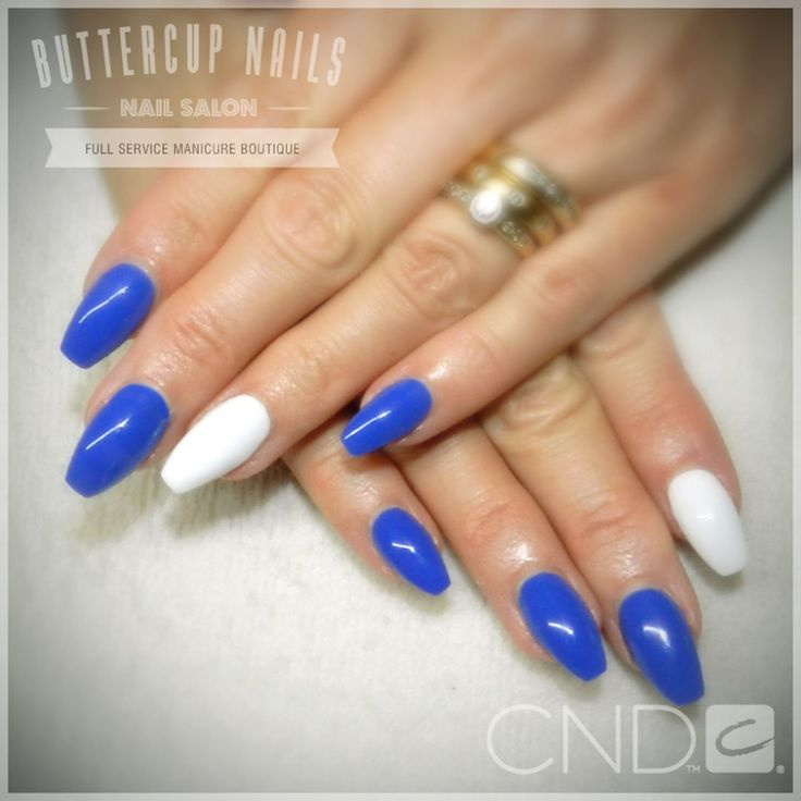 CND Shellac in Blue Eyeshadow and Cream Puff, over Retention+ acrylic sculpted nails.  #CND #CNDWorld #CNDShellac #Shellac #nails #nail #nailstagram #naildesign #naildesigns #nailaddict #nailpro #nailart #nailartist #nailartdesign #nailartofinstagram #nailartdesigns