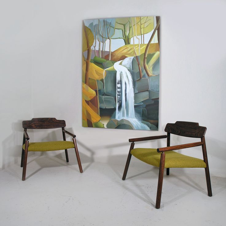 Italian rosewood armchairs and painting by British landscape artist Lindsey Hambleton.  http://www.midcenturyhome.co.uk