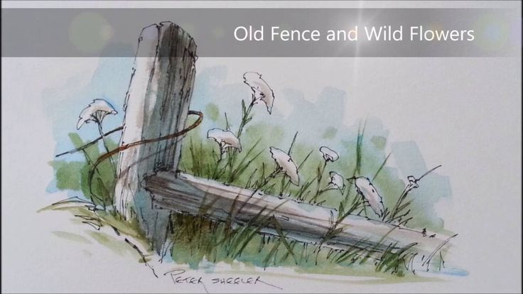 Pen and Wash watercolor tutorial of a Fence post and Wildflowers. With P...