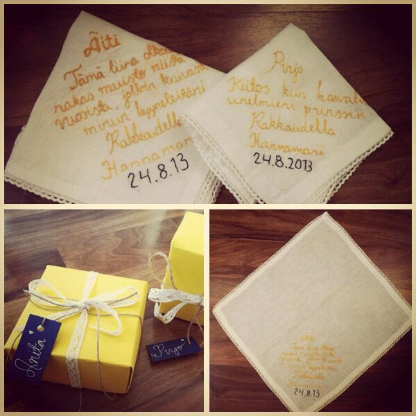 I wanted to give my mother and my mother-in-love something to remember from our day. Embroidery handkerchief made and designed by me. :) The colours were chosen according to our theme: yellow-navy blue-cream.