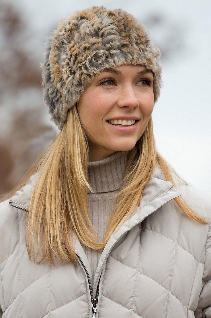 Women's Knitted Rex Rabbit Fur Hat by Overland Sheepskin Co. (style 70235)