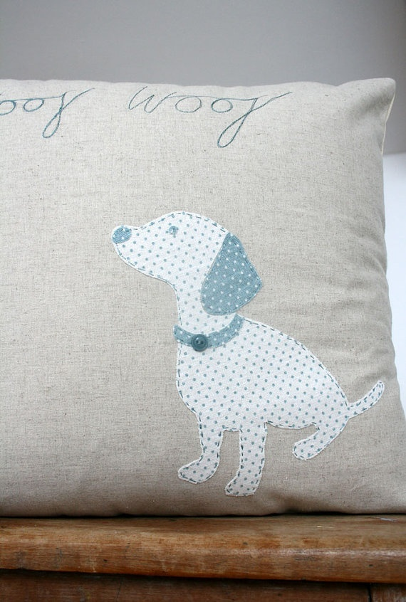 Appliqued cushion by Naughty Dog on Etsy