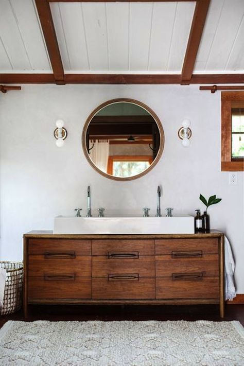 modern meets rustic bathroom