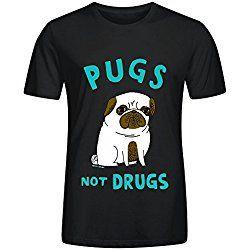 FORERIC Pugs Not Drugs T Shirts For Men Black