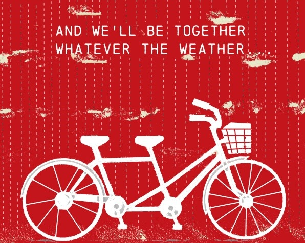 Art For Couples Tandem Bike In Sunshine And In Rain Print. $18.00, via Etsy.