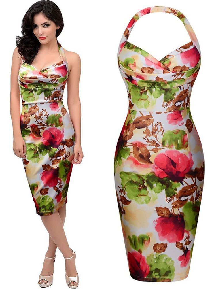 Lmeison Women's Sexy Deep-V Neck Sleeveless Retro Flare Floral Halter Pencil Dress * Review more details here : Bridesmaid dresses