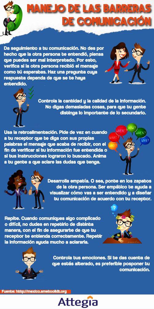 Hola: Una infografía sobre el Manejo de las Barreras de Comunicación. Vía Un saludo