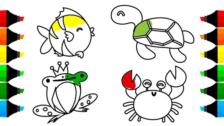 How to Draw Cute Sea Animals Coloring Pages, Learn Colors for Kids with ...