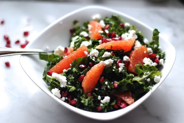 This kale salad has goat cheese crumbles, fresh orange slices, and juicy pomegranate seeds, boasting loads of health benefits.