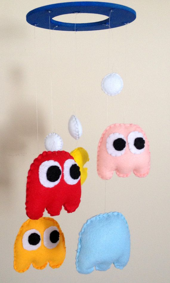 felt mobile pac man nursery decor retro baby by OneGoodApple