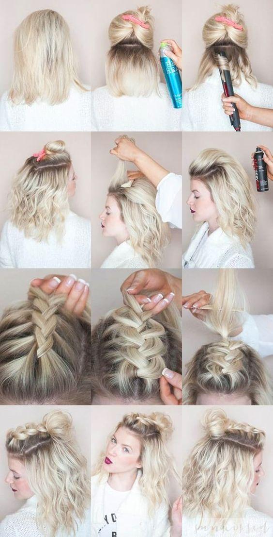 hair style 2017, прическа на короткие волосы, стильная прическа, косичка с пучком на затылке