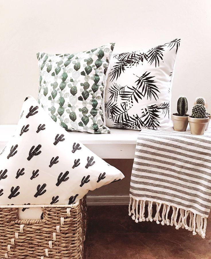 Modern Throw pillows/ modern home decor/ Cactus throw pillow https://www.etsy.com/listing/524275945/prickly-cactus-print-modern-throw-pillow