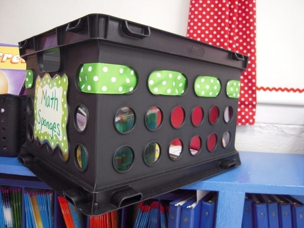 Thread decorative ribbon through milk crates.   36 Clever DIY Ways To Decorate Your Classroom
