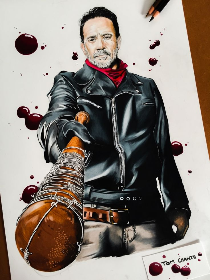 """tom-chanth: """" """"You can breathe. You can blink. You can cry"""" Negan & Lucille Color pencils and markers """""""