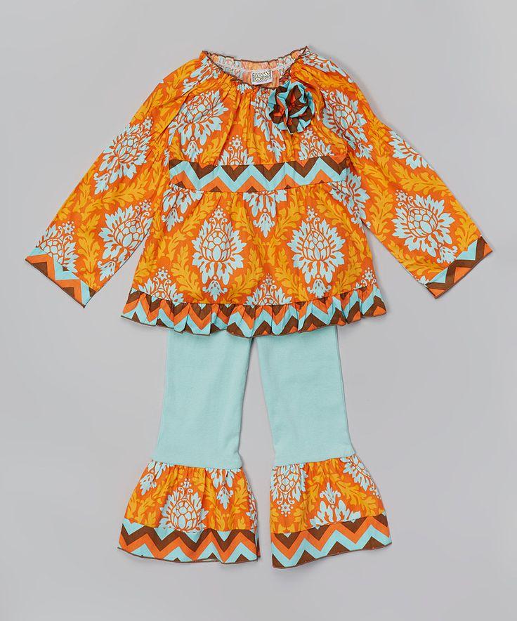 Look what I found on #zulily! AnnLoren Orange Damask Top & Turquoise Pants - Toddler & Girls by AnnLoren #zulilyfinds