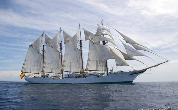 The world's third largest tall ship, the Juan Sebastián de Elcano, from Spain.