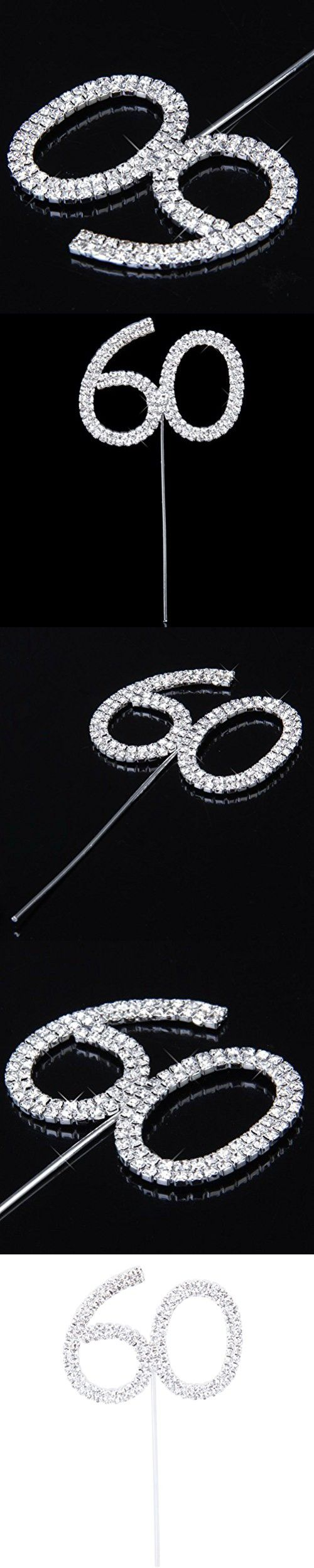 60th Anniversary Birthday Party Cake Topper with Rhinestone Silver