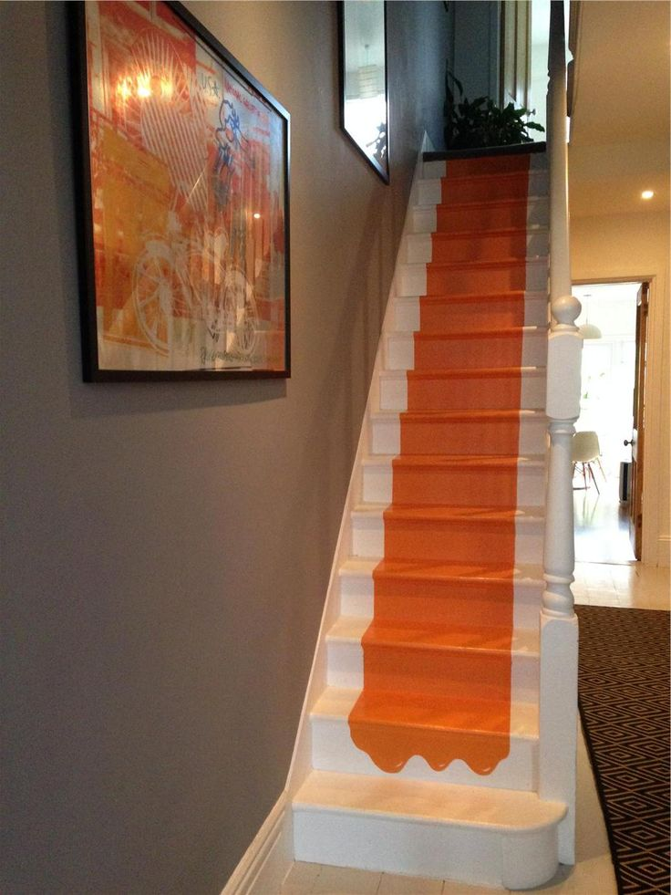 Charlotte's Locks Orange Paint Color on Stairs by Farrow & Ball