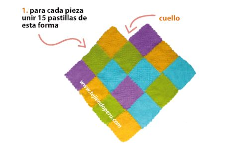 poncho con pastillas en telar de mesa cuadrado de 11 por 11 cm.