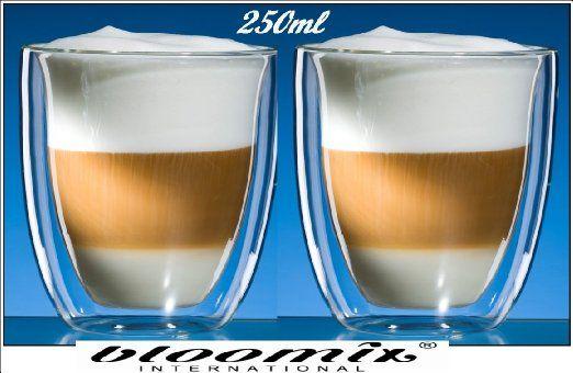 Doppelwandige bloomix Marocchino Thermo Gläser Glas Kaffeegläser 250ml Höhe 9cm: Amazon.de: Küche & Haushalt