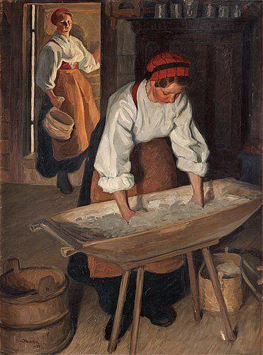 """Sam Uhrdin (1886-1964) """"Brödbak"""" 1917"""
