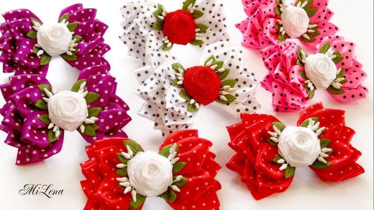 Объемные Бантики с Розами, МК / DIY Ribbon Bows with Rolled Roses
