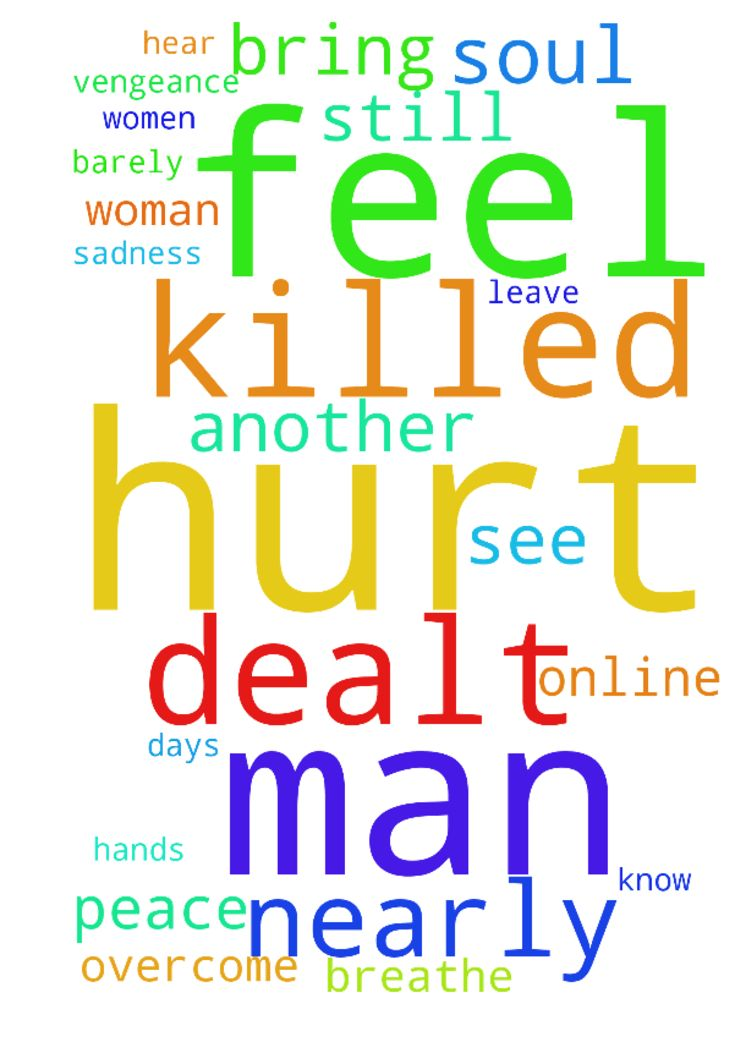 I pray that the man that nearly killed me is dealt - I pray that the man that nearly killed me is dealt with. God I leave vengeance in your hands. Please bring peace onto my soul because all I can feel is hurt and sadness. I still see him online and he is with other women. I know he will hurt them too. On most days, I feel like I can barely breathe. Lord help me overcome this and please dont let another woman be hurt by him. Can you hear me God Posted at: https://prayerrequest.com/t/AXl…