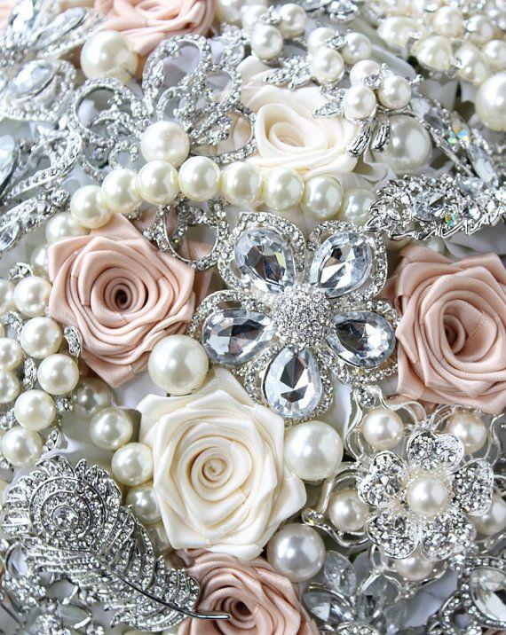 Blush Wedding Brooch Bouquet. Blush Ivory and by annasinclair