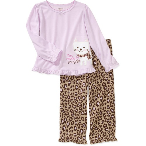 Child of Mine Carters Baby Girls' 2-Piece Kitty Tee and Fleece Pant PJ Set