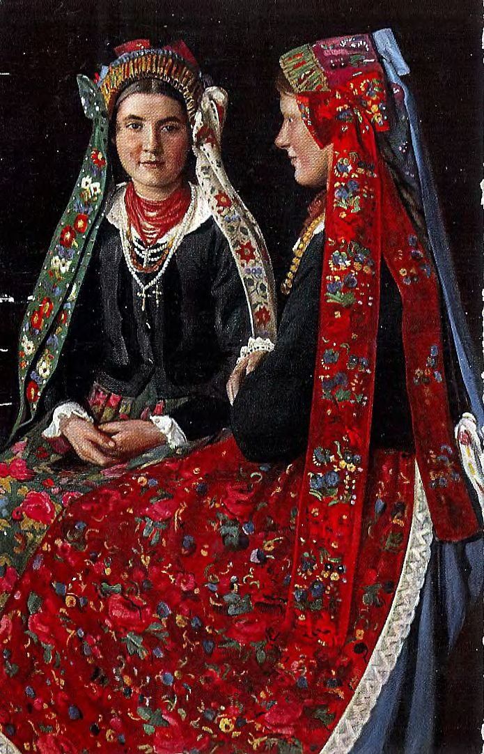 Bridesmaids from Sieradz. Florian Piekarski (1868-1919), reproduction on a postcard Traditional crowns from Poland