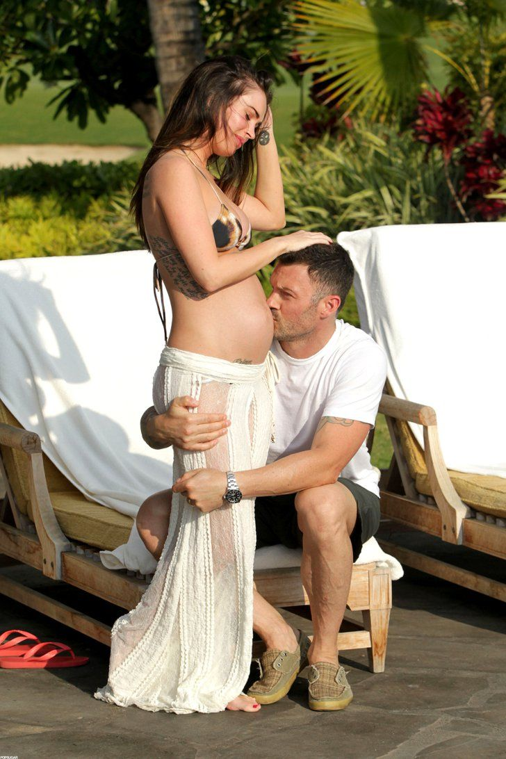 Pin for Later: Megan Fox and Brian Austin Green's Sweetest, Sexiest Moments  Brian kissed Megan's pregnant stomach during a vacation in Hawaii back in June 2012.