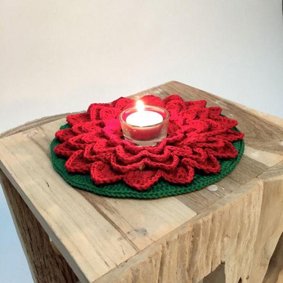 kerstbloem haken met patroon