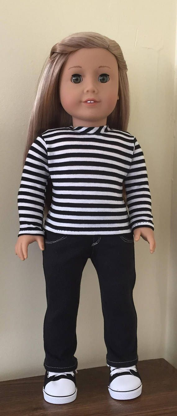 """Striped Top /& Pink Leggings Pant Set fits 18/"""" American Girl Doll Clothes"""
