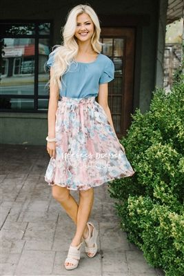 Pink Dusty Blue Floral Modest Skirt for Church, Church Dresses, dresses for church, modest bridesmaids dresses, trendy modest dresses, modest womens clothing, affordable boutique dresses, cute modest dresses, mikarose, modest bridesmaids dresses