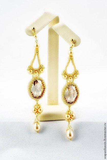 """Серьги """"Луиза Брукс в кремово-золотом"""" - золотой,кремовый,длинные серьги"""