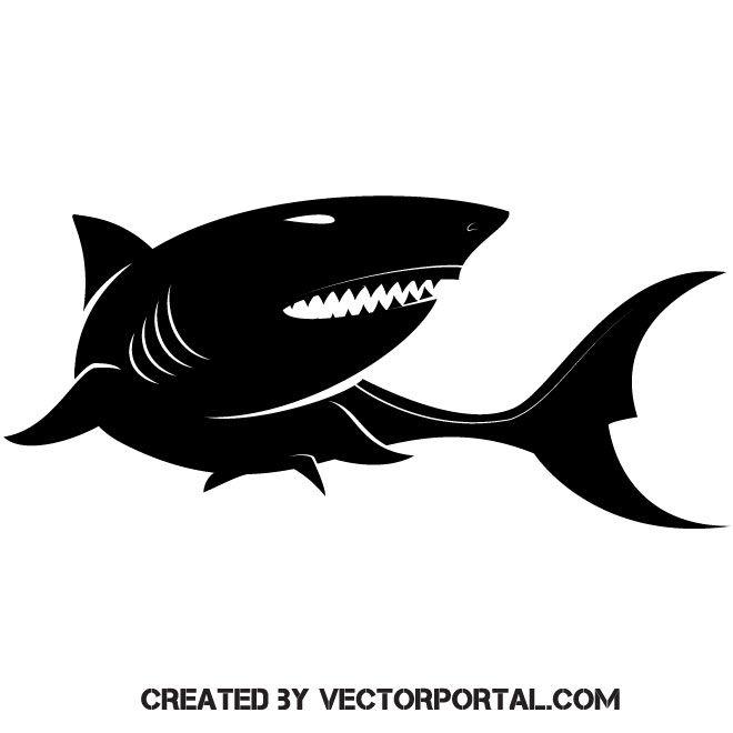 Shark Vector Image Shark Silhouette Shark Illustration Silhouette Vector