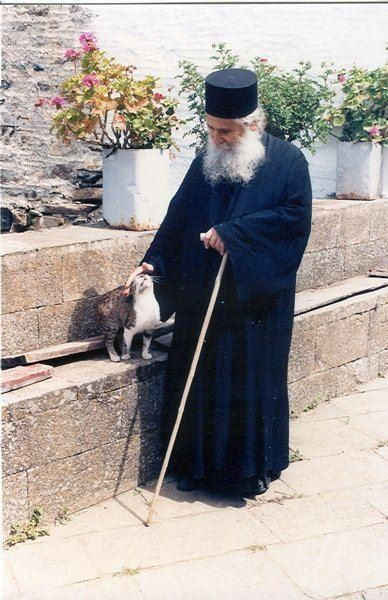 Orthodox monk and cat.