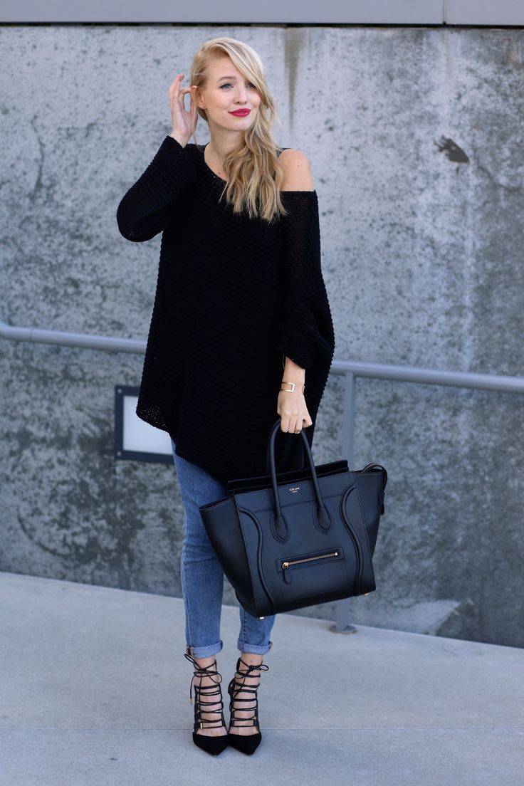 All deets: www.ohhcouture.com | Streetstyle: 721 Levis, @Aquazzura Heels, layers, oversized knit, chunky knit, layering, Céline mini luggage bag #ohhcouture