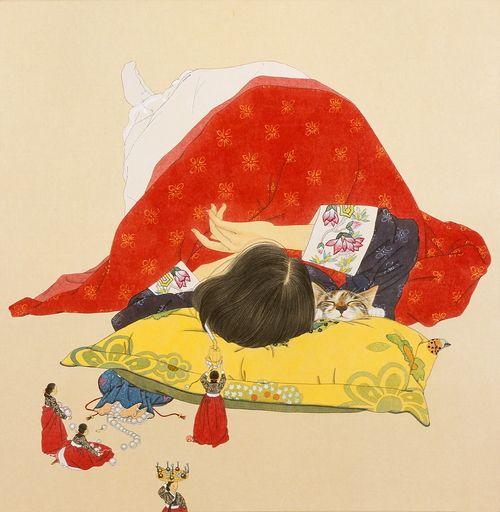 by Shin Sunmi  당신이 잠든사이6, 80x78cm, 장지에 채색, 2008