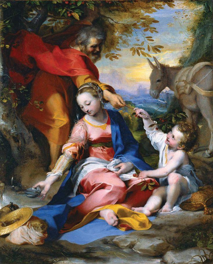 1570 de Federico Barocci Descanso en la huida a Egipto muestra a María coger agua en un cuenco de plata como Joseph ofrece cerezas a Jesús
